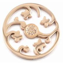Rose Gold Flower Coin Plate with Champagne Zirconia