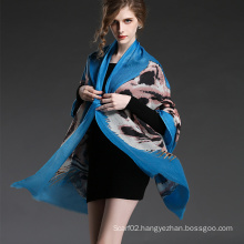 Girl′s Long Wool Tiger Pattern Digital Printing Blue Scarf Shawl