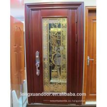 Puerta delantera de metal, puerta de acero inoxidable, puerta exterior de seguridad