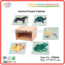 Cabinet for 5 Zoology Puzzles Montessori Toy of Educational Material