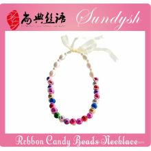 Schöne handgemachte Ribbon Lace Candy Perlen Halskette für Mädchen