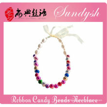 Beautiful Handmade Ribbon Lace Candy Beads Necklace For Girls