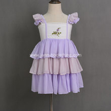 Hot sale purple embroidered chiffon fabric smocked ruffle dress