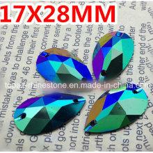 17X28mm Green Ab Pear Drop Resin Sew on Rhinestones Resin Stone