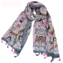 New arrival pakistani scarf hijab tribal print scarf cotton voile material tassel scarf