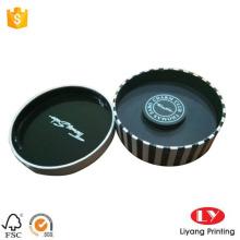 Caixa de embalagem de jóias redondas com inserção de couro