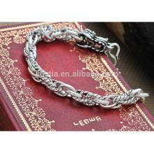Chinese antique dragon 925 pulseira de prata esterlina