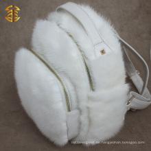 Neueste Design White Nerz Pelz und Leder Rucksack für Mädchen