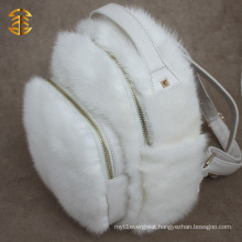 Latest Design White Mink Fur and Leather Backpack for Girl