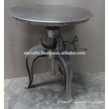 Metal Sheet Crank Table Chrome Plated Antique Design