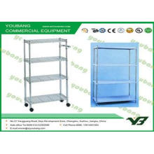 Supermarket Mobile White Wire Display Racks / shelving with