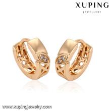 93294 Hot vente nouveau designer haute qualité bijoux 18 carats plaqué or boucles d'oreilles gravées