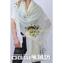 Damen super dünnen Aquarell gedruckt Wolle Schal