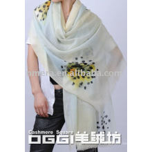 ladies' super thin watercolor printed wool scarf
