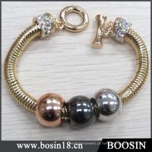 Atacado Banhado A Ouro Cobra Cadeia De Metal Bead Bracelet # 31416