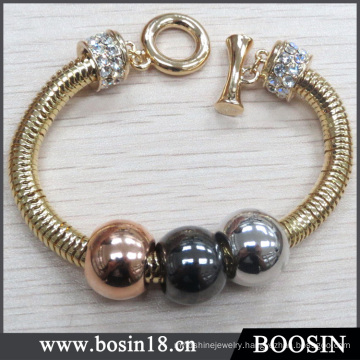 Wholesale Gold Plated Snake Chain Metal Bead Bracelet #31416