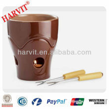 Ceramic Chocolate Cheese Fondue Set with Solid Color