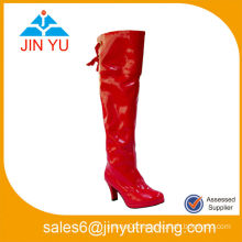 Sex Red High Heel Leather Boots! Over Knee High Heel Boots