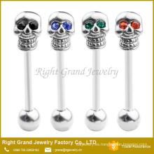 Único 14G cristales rojos ojos de acero inoxidable quirúrgico cráneo Barbell lengua anillo