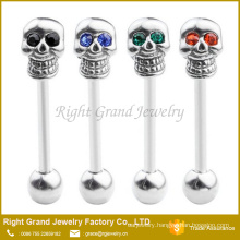 Unique 14G Red Crystals Eyes Surgical Stainless Steel Skull Barbell Tongue Ring