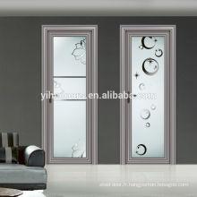 Porte en aluminium de belle vente entière / porte de salle de bain / conception moderne de porte intérieure