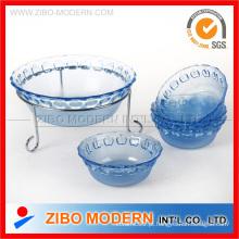 Conjunto de tigela de vidro redondo transparente / conjunto de tigela de vidro salada