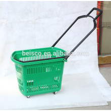 Plastic shopping baskets with side handle and portable handle