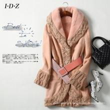 Новый натуральной кожи и меха пальто с Вязание