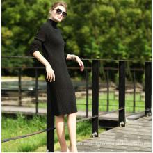 Damen Strick Langes Kleid mit Rundhalsausschnitt 16brdw003