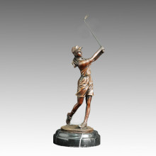 Estatua Deporte De Golf Escultura De Bronce Femenino, Milo TPE-505