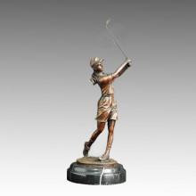 Sports Statue Golf Female Bronze Sculpture, Milo TPE-505