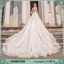 Bella Bride Guangzhou designer pakistani vestidos de casamento vestidos de manga comprida vestido de noiva vestido de noiva com renda dourada e contas