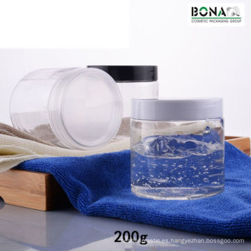 Tarro transparente para mascotas de 200 ml con tapón de rosca de plástico