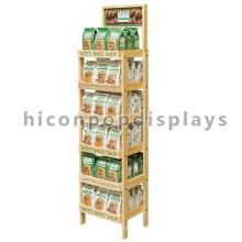 Stand de exibição independente de 6 camadas para loja de varejo de comida, exibição de pão de padaria de madeira para promoção