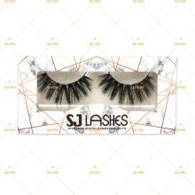 5D Vegan Non-Animal Tested Silk Fiber Lashes With Golden Marble Own Logo Branding Eyelash Box Package 5DS