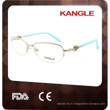 2017 Wenzhou usine femmes avec des lunettes en métal dimand demi-jante eyewear