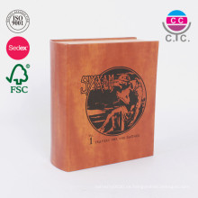 Caja de regalo del libro de cartón de la cubierta de cuero personalizado