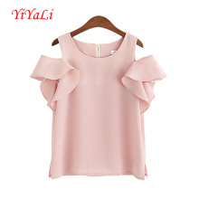 Moda plissado mulheres t-shirt do Chiffon