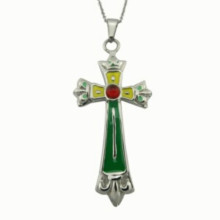 Fashion Large Enamel Gemstone Cross Necklace