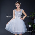 2017 wholesale new silvery gray sparkle sequins tulle bridesmaid wedding short dress evening
