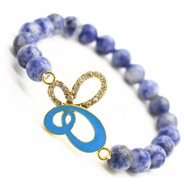 Sodalite Gemstone Bracelet with Diamante alloy butterflyPiece