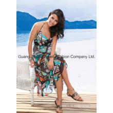 OEM Woven Chifon Abstrato Print Halter Maxi Dress