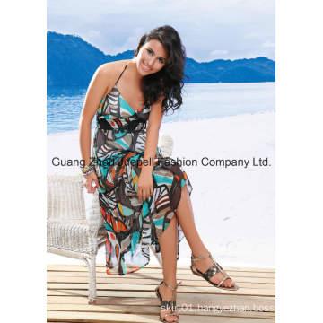 OEM Woven Chifon Abstract Print Halter Maxi Dress
