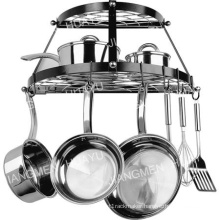 Enameled Steel Double Shelf Wall Pot Rack in Black