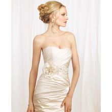 Trumpet Mermaid Scoop Strapless Elastic-Satin Chapel Train Manmade Flowers Beading Ruffled Wedding Dress