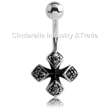 Acier chirurgical Kool Katana Iron-Cross Belly Rings