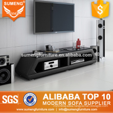 foshan simple design elegant glass black color tv stands