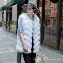Chaleco de piel de zorro real mujer traje cómodo