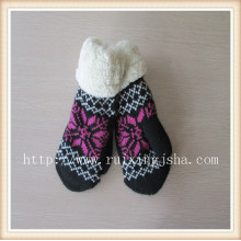 winter jacquard fingerless knitted gloves