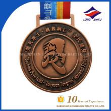 Medalla de deporte personalizada medalla de metal de cobre redondo medalla de premio para el recuerdo